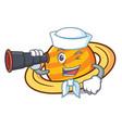 sailor with binocular planet saturnus mascot vector image vector image