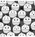 seamless halloween kawaii cartoon pattern vector image