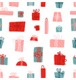 seamless pattern with colorful gift boxes with vector image vector image