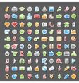 set 100 sticker icons vector image