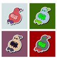 set of flat icon halloween emotion pumpkin vector image