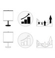 set of graphs showing growth business in black vector image vector image