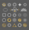 set of handmade sunburst design elements vector image vector image