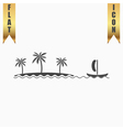 ship sailing near the island with palm trees vector image vector image