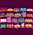 shop or store showcase with kitchen dish crockery vector image vector image