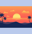 sunset tropical beach with palm trees and sea for vector image