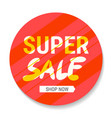 super sale isolated yellow red origami sticker vector image