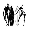 surfer silhouettes woman and man vector image