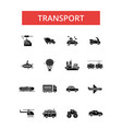 transport thin line icons linear vector image vector image