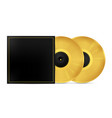two golden musical vinyl record in an envelope vector image