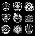 vintage white stop smoking badges set vector image vector image