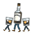 whiskey walks on its feet sketch engraving vector image vector image