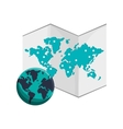 world map and earth globe icon vector image
