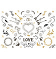 Hand drawn vintage decorative elements with vector image
