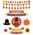 Thanksgiving design elements set vector image