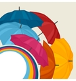 Abstract background with colored umbrellas for vector image vector image