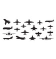 airplane silhouette military jet plane and civil vector image