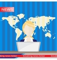 Anchorman on tv broadcast news flat vector image