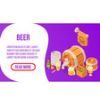 beer concept banner isometric style vector image vector image