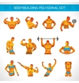 Bodybuilding Polygonal Icons Set vector image