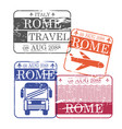 bus and airplane travel stamps of rome in colorful vector image vector image