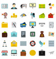business plan icons set flat style vector image vector image