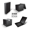 carton packaging 3d black box set delivery set of vector image