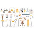 cartoon lamps cozy flat torcheres hanging vector image
