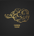 chinese gold clouds and wind blows isolated vector image vector image