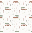 christmas seamless pattern with car and fir tree vector image