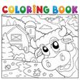 coloring book lurking cow near farm vector image vector image