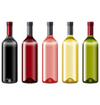 Diiferent colors of glass bottles vector image
