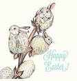 easter card with hand drawn rabbits vector image