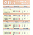 European Calendar for 2015 vector image