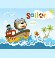 funny sailor cartoon vector image