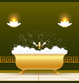 golden bathtub vector image vector image