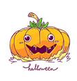 halloween of decorative orange pumpkin with eyes vector image vector image