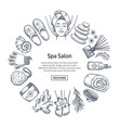 hand drawn spa elements in circle form with vector image vector image