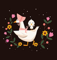 happy easter card with ducks family and flowers vector image vector image