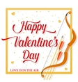 Happy Valentines Day lettering text with golden vector image
