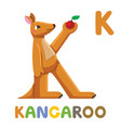 k is for kangaroo letter k kangaroo cute animal vector image vector image