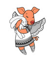 lovely pig with wings in beautiful clothes with a vector image vector image