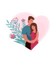 man hugging and kissing woman in heart shape vector image