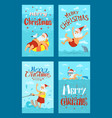 merry christmas santa claus water activities rest vector image vector image