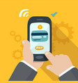 mobile payments with gears vector image