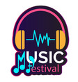 neon music festival headphone background im vector image vector image