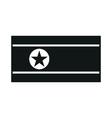 north korea flag monochrome on white background vector image