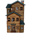 old wooden house with chimney vector image vector image