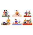 people cooking in kitchen couples and families vector image