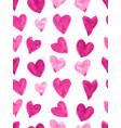 pink watercolor heart pattern vector image vector image